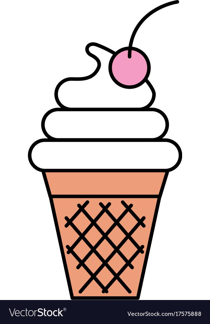 Fresh tasty ice cream ball cone with one cherry
