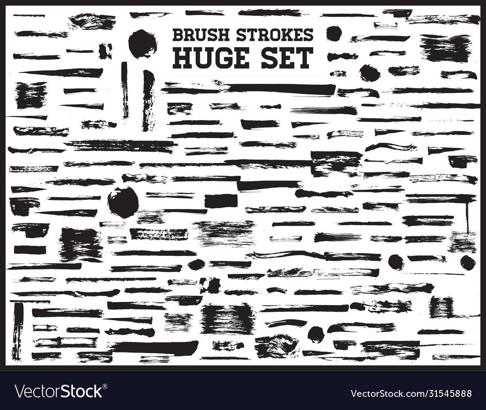 Huge set black brush strokes paint ink brushes