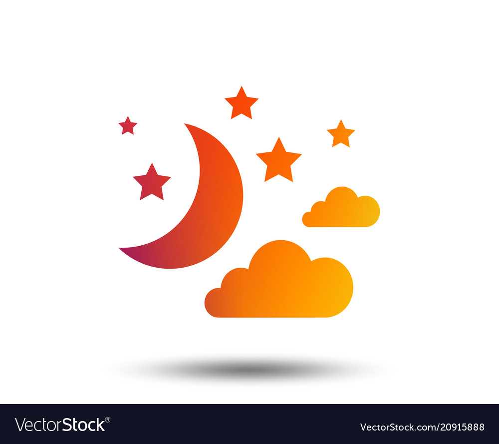 Moon clouds and stars sign icon dreams symbol