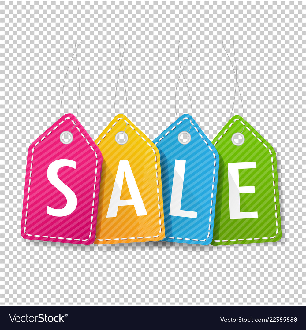 Sale Price Tags Transparent Background Royalty Free Vector