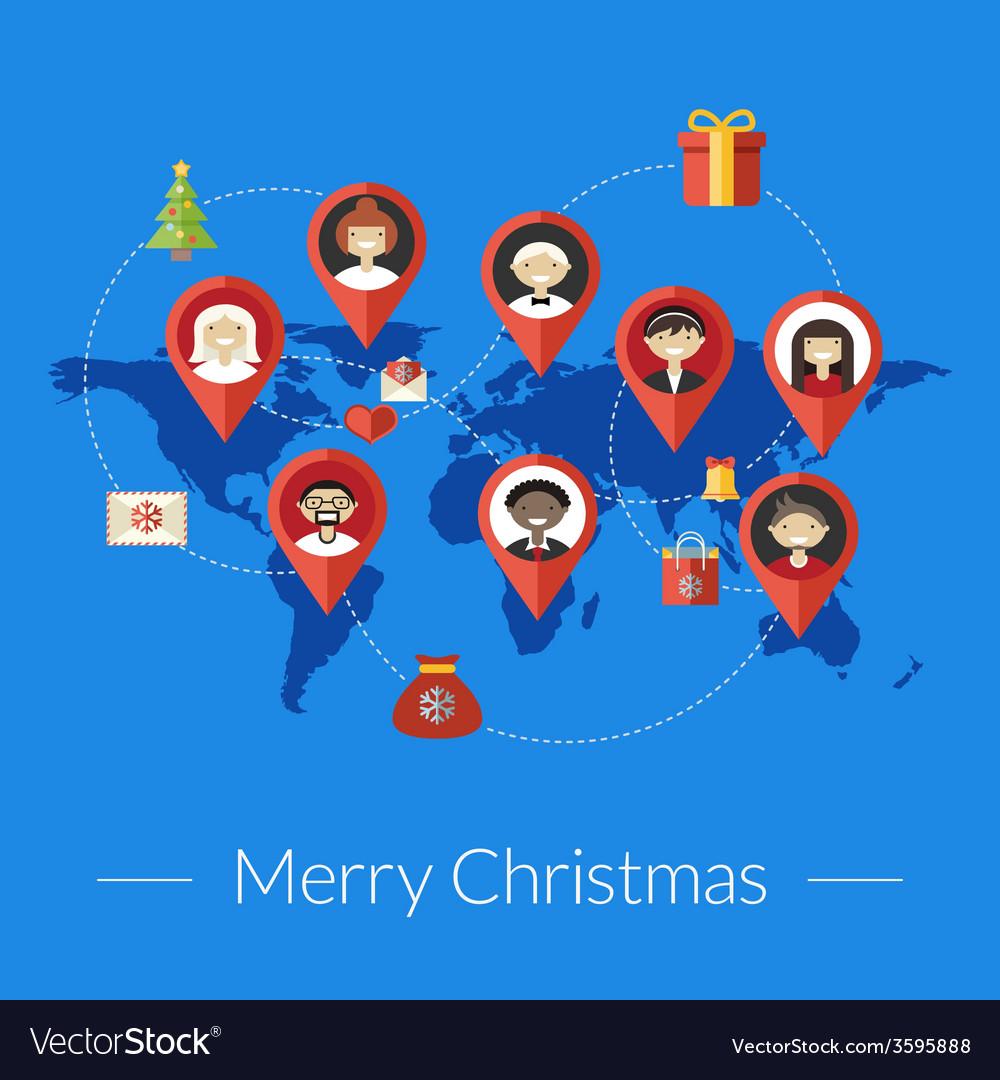 Social media and christmas congratulation concept
