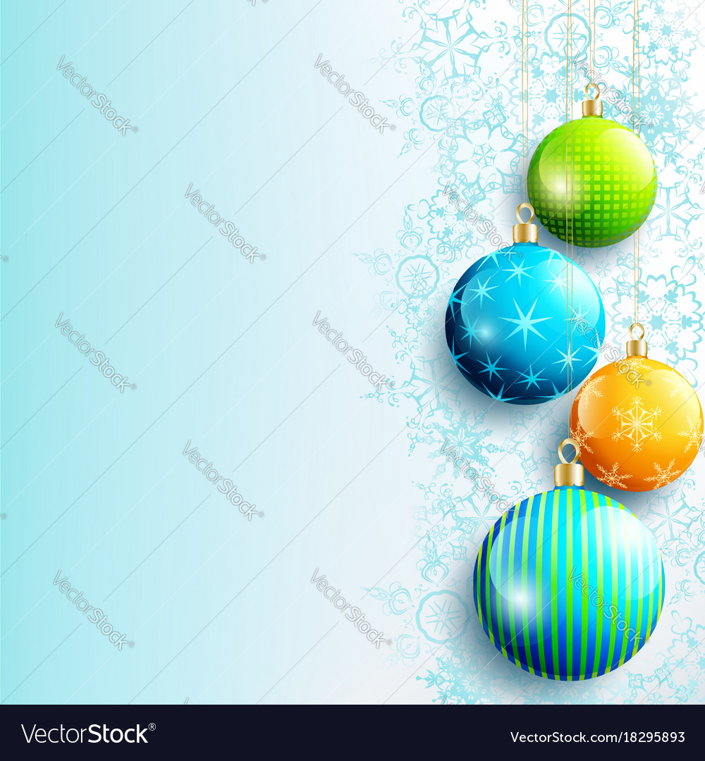 Blue new year and christmas background with balls