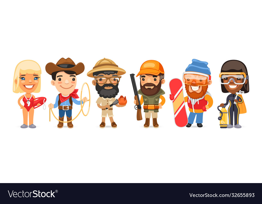 Cartoon worker characters with different