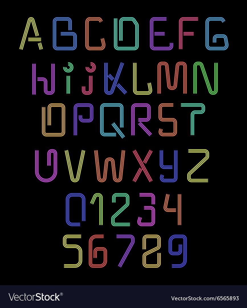 Font neon Realistic brilliant fluorescent font for
