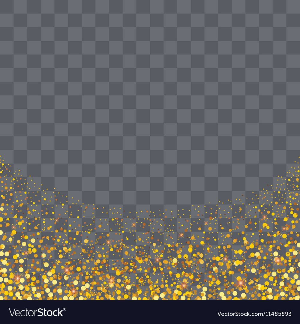 Gold glitter particles on transparency background