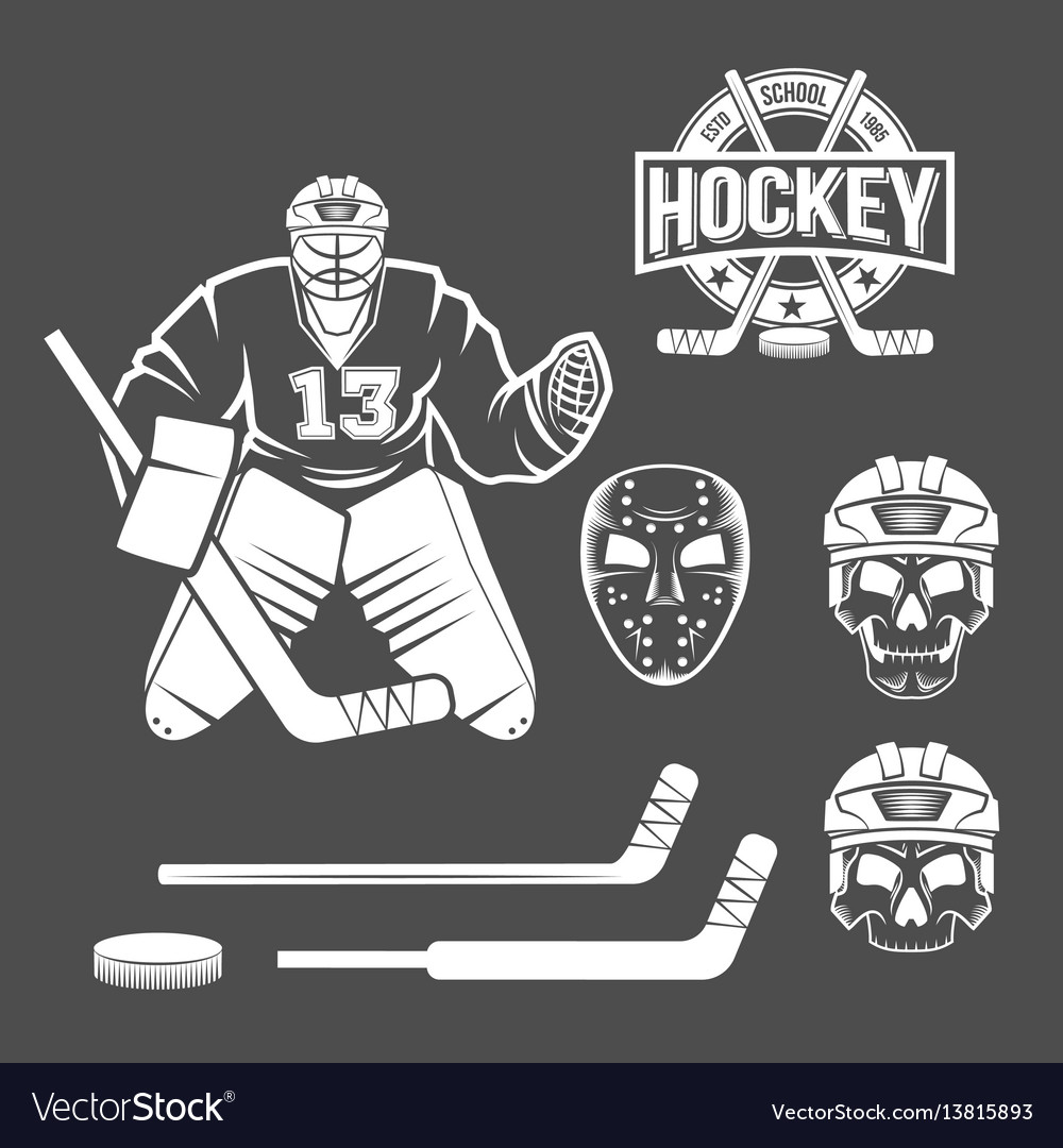 Ice Hockey Goalie Elements Royalty Free Vector Image