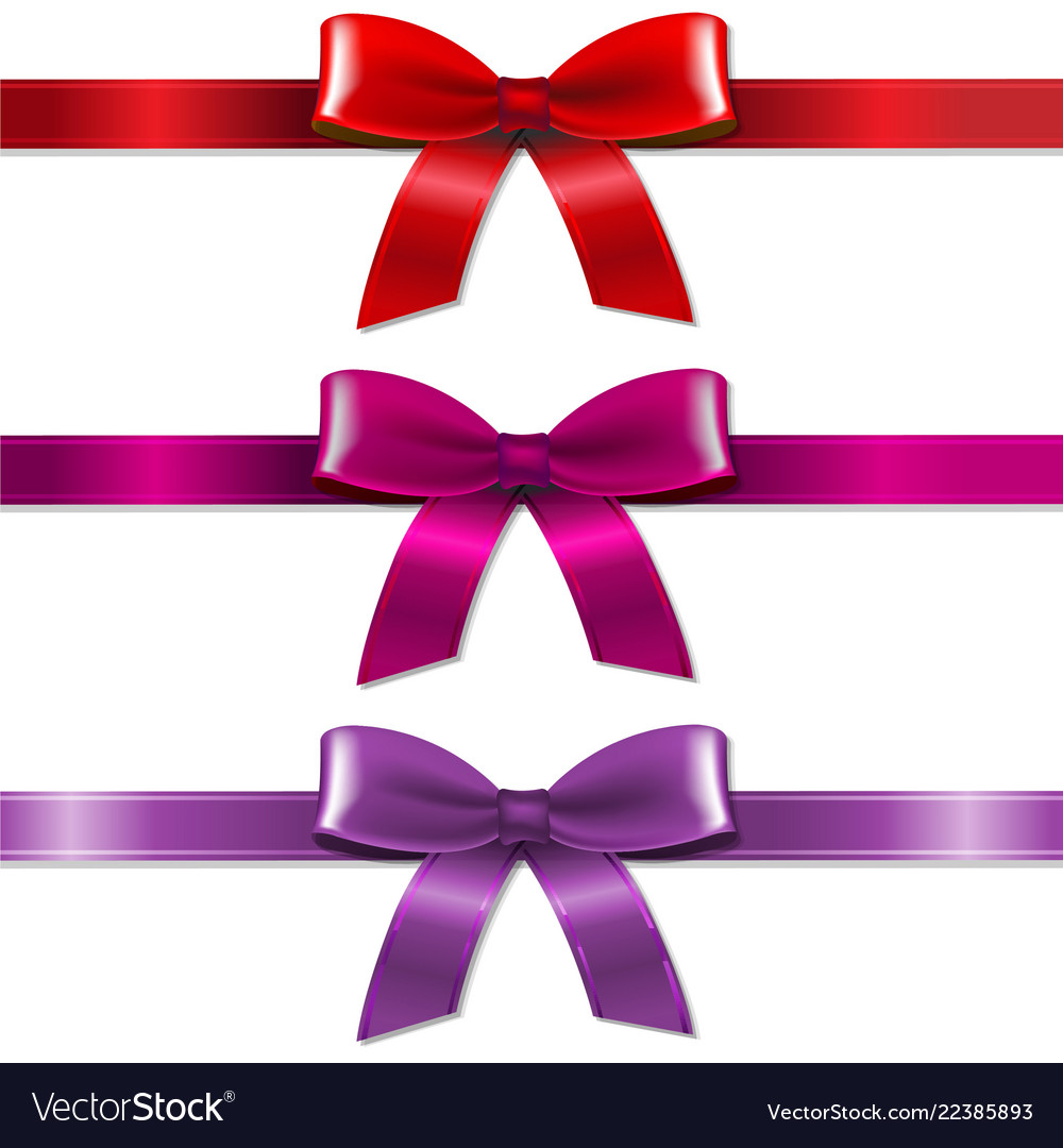 Satin color bows set