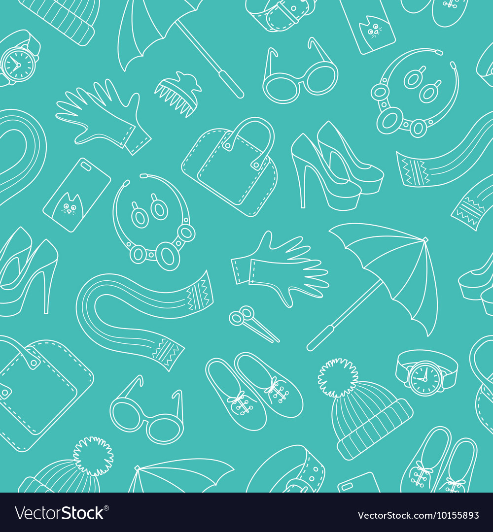 Seamless pattern with women s accessories vector image