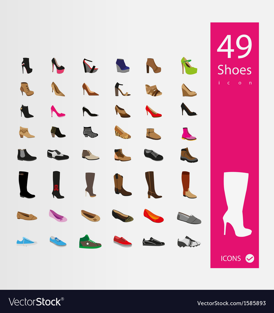 Shoes icons set set of 30 Quality icons