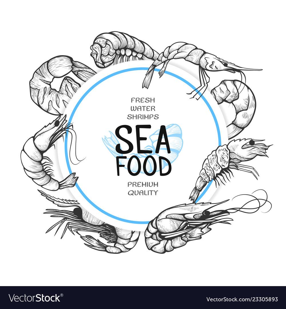 Shrimp hand drawn sea food logo design