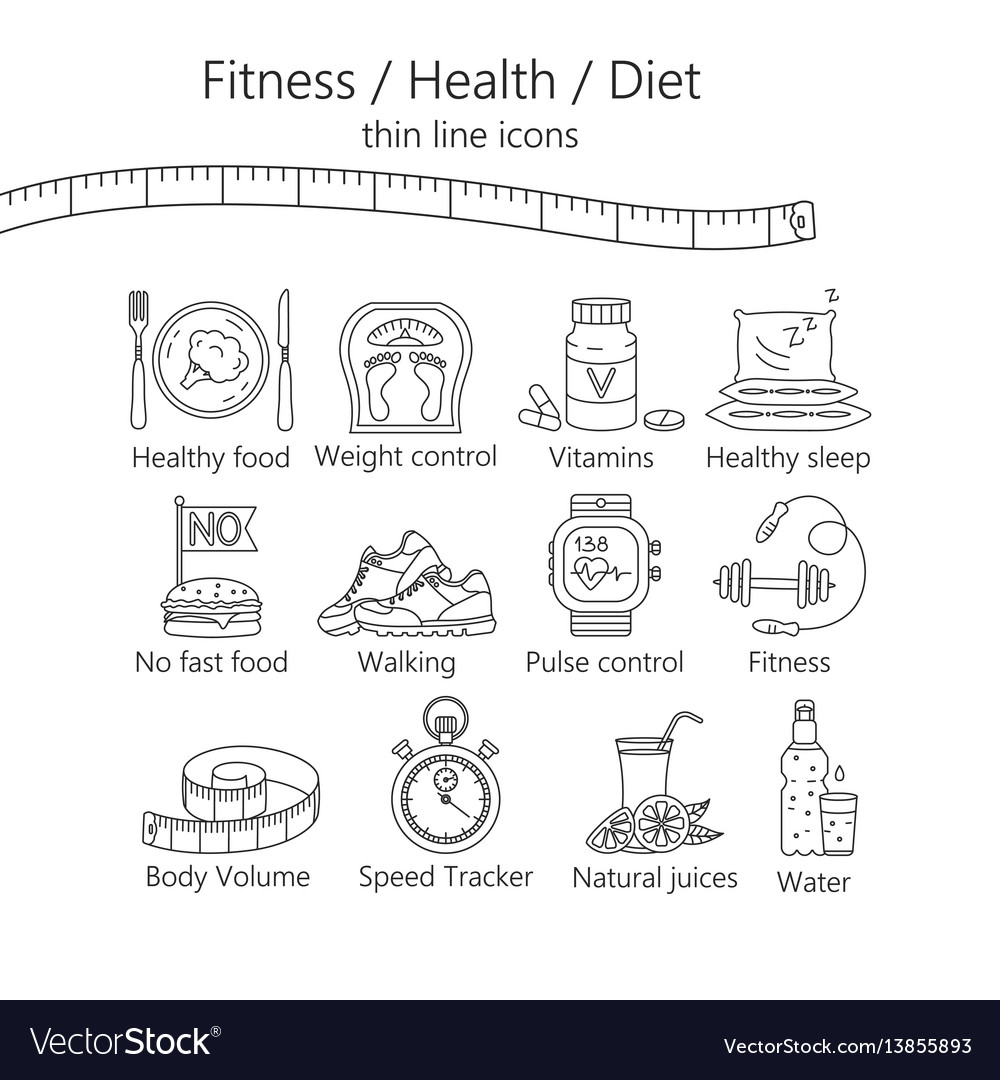 Weight loss diet icons set