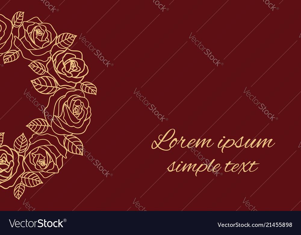 Beige Outline Roses Wreath Wedding Invitations