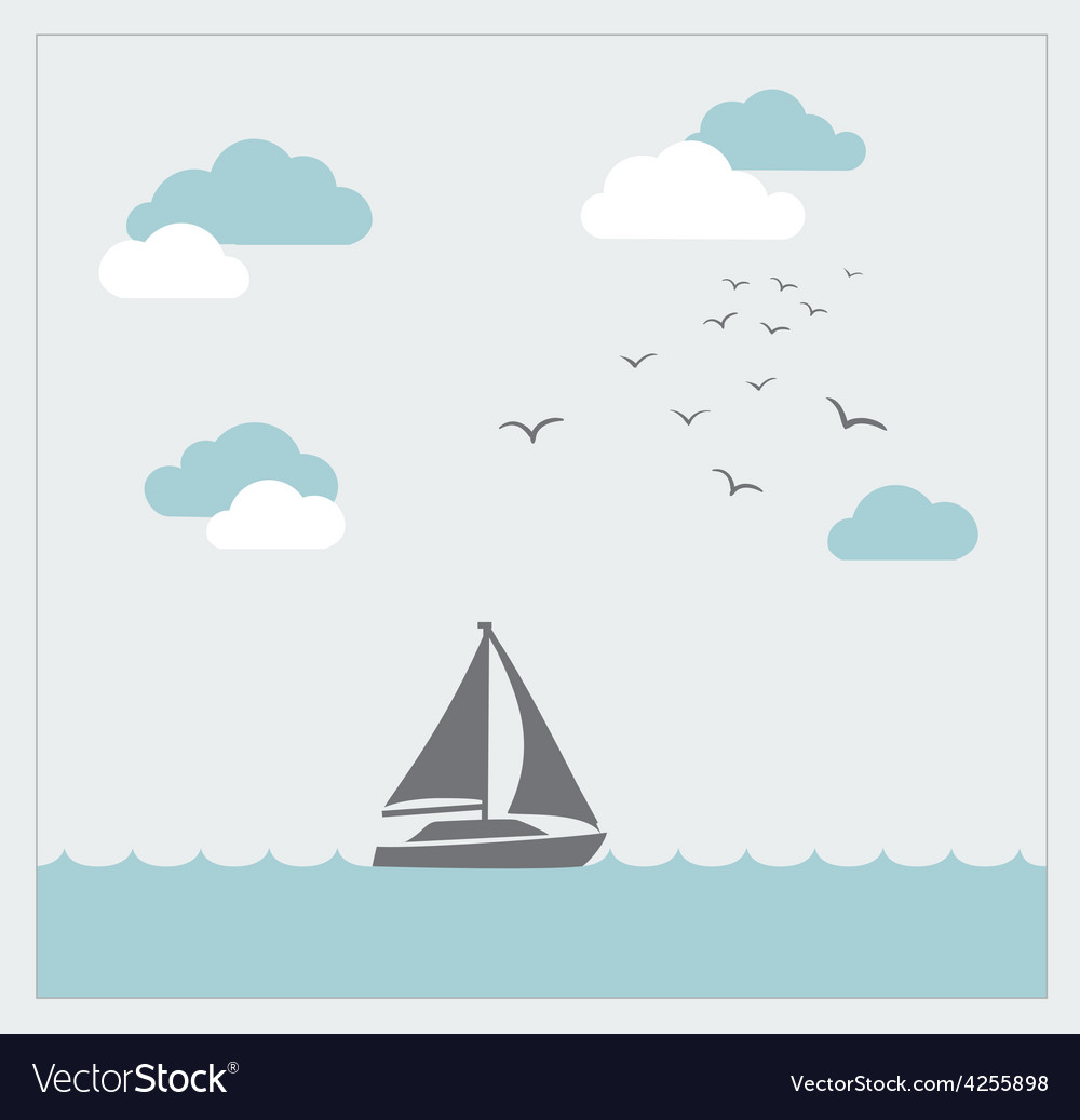 Card with sailboat and clouds