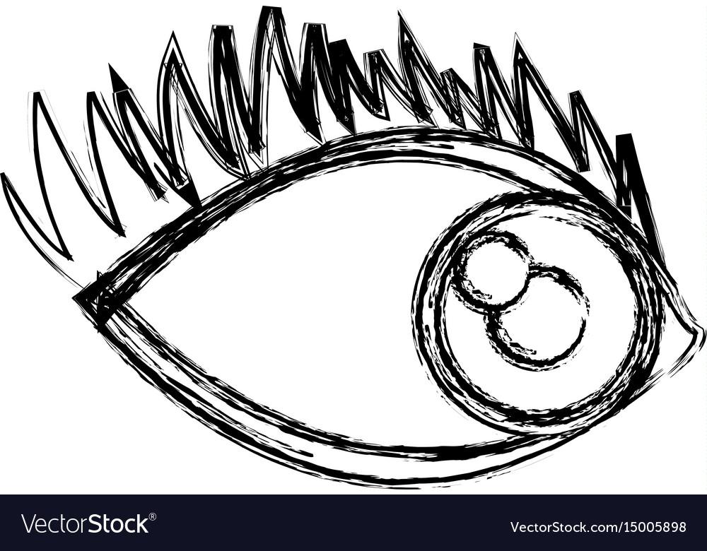 Cartoon eye human look watch icon
