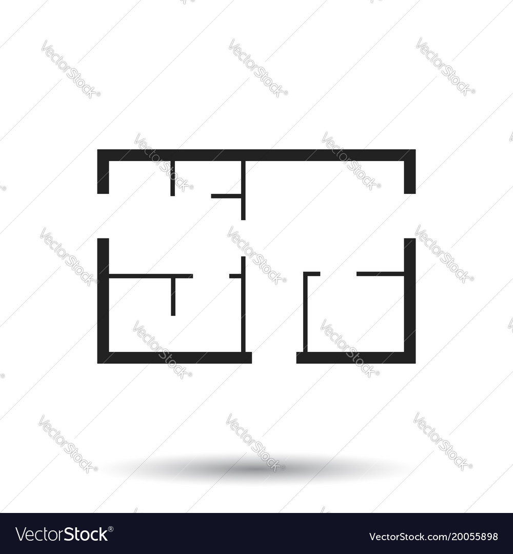 House plan simple flat icon on white background