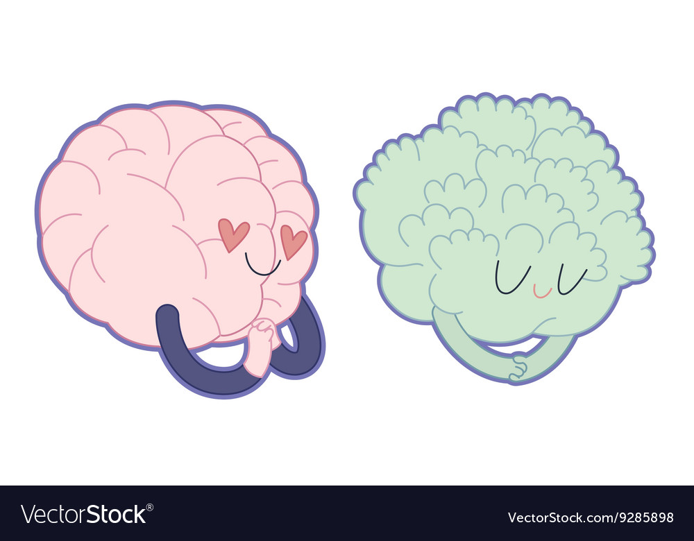 Love to broccoli Brain collection vector image