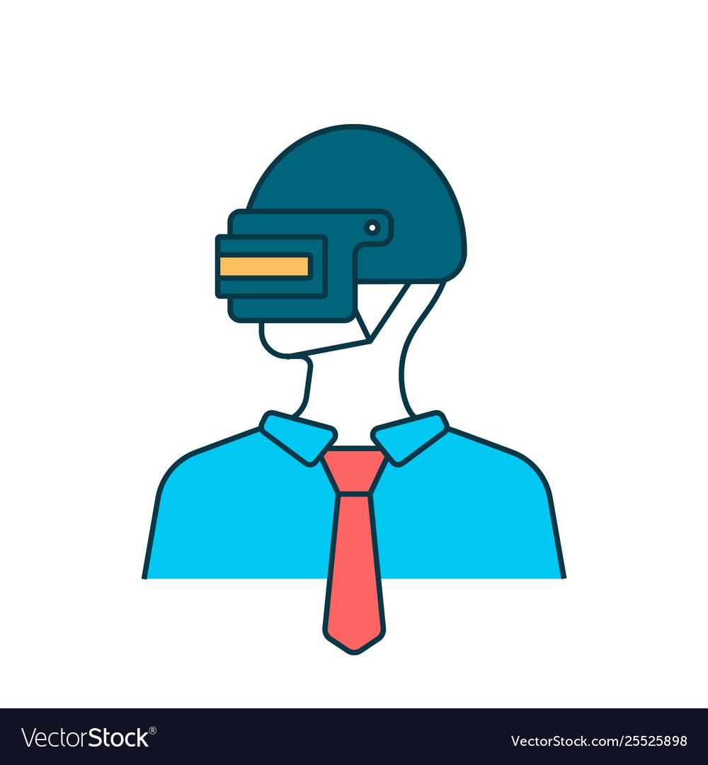 Man avatar on steel helmet