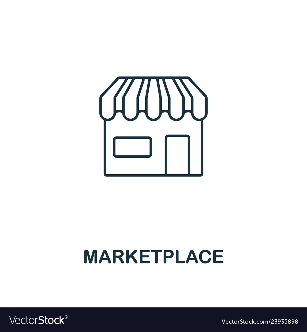 Marketplace outline icon thin line element from