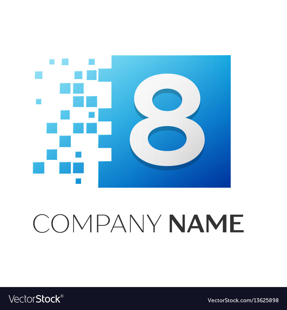 Number eight logo symbol in the colorful square on