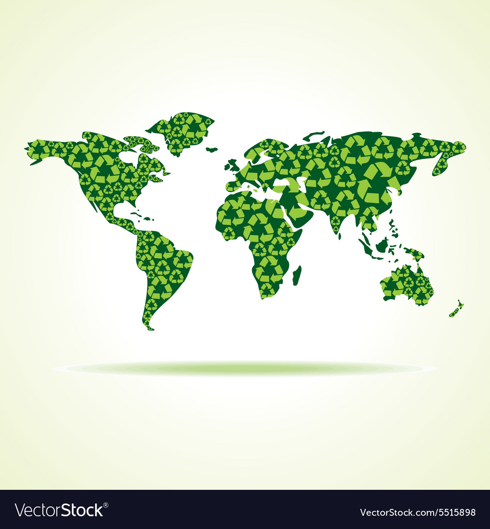 Recycle icons make world map stock Royalty Free Vector Image on