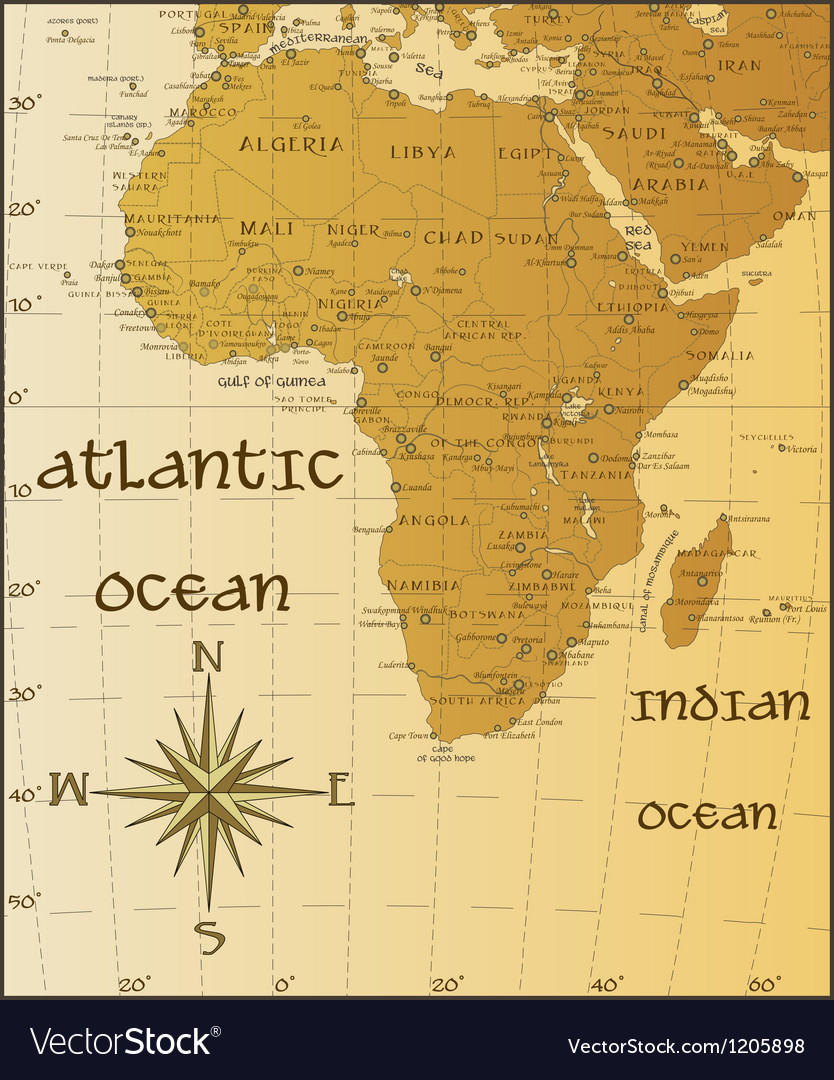 Vintage map of Africa Royalty Free Vector Image