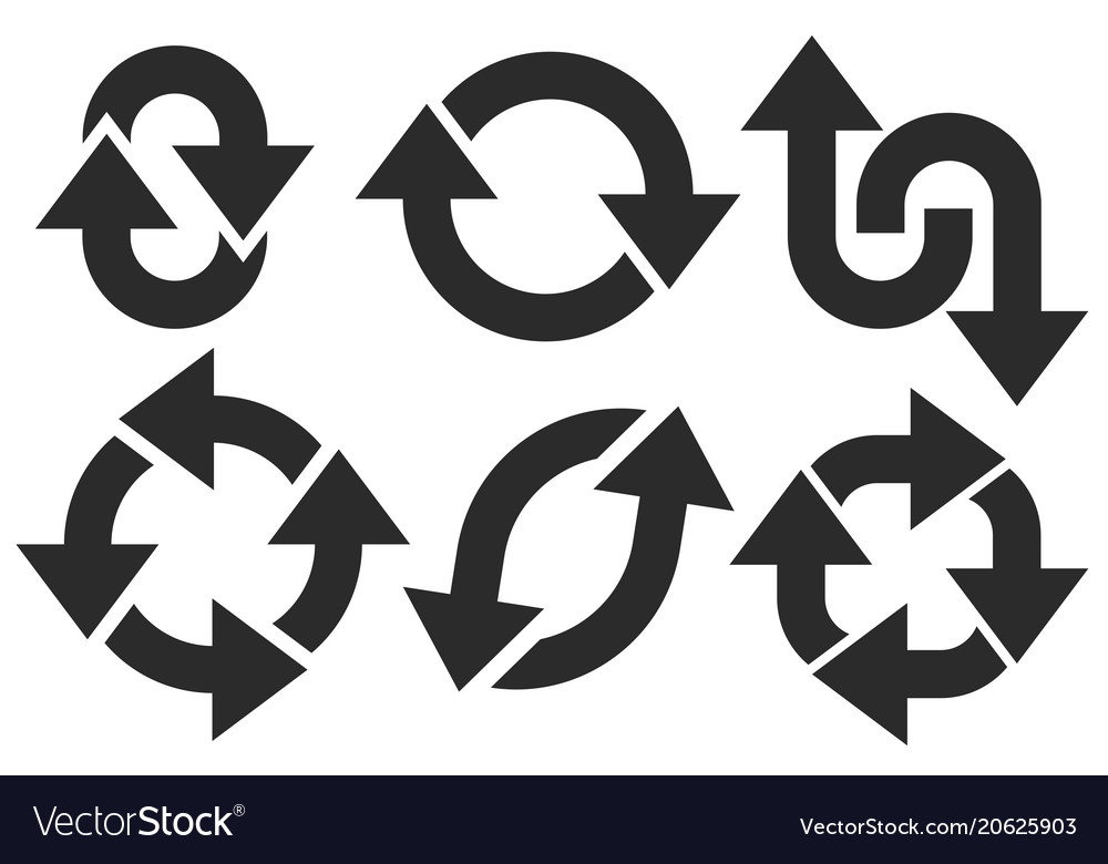 Black bold arrow signs circle motions