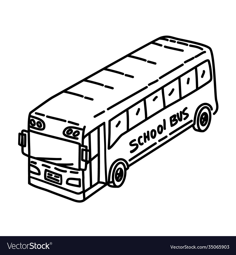 Bus school icon doodle hand drawn or outline icon