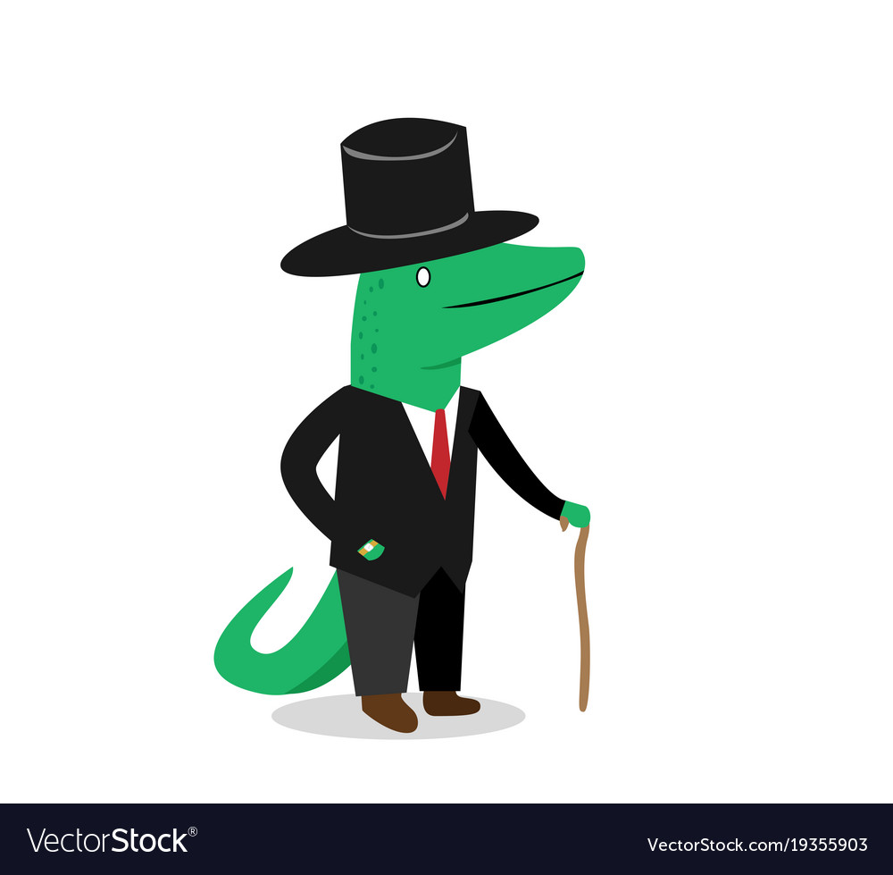 business crocodile in suit cartoon royalty free vector image
