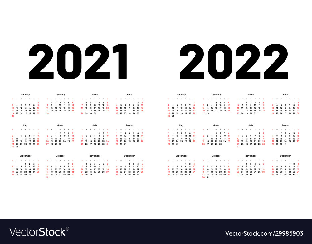 2022 Calendar With Week Numbers.Calendar For 2021 And 2022 Year Week Starts On Vector Image