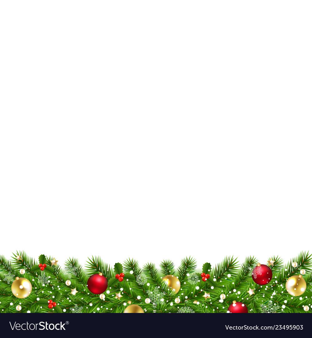Christmas garland isolated white background