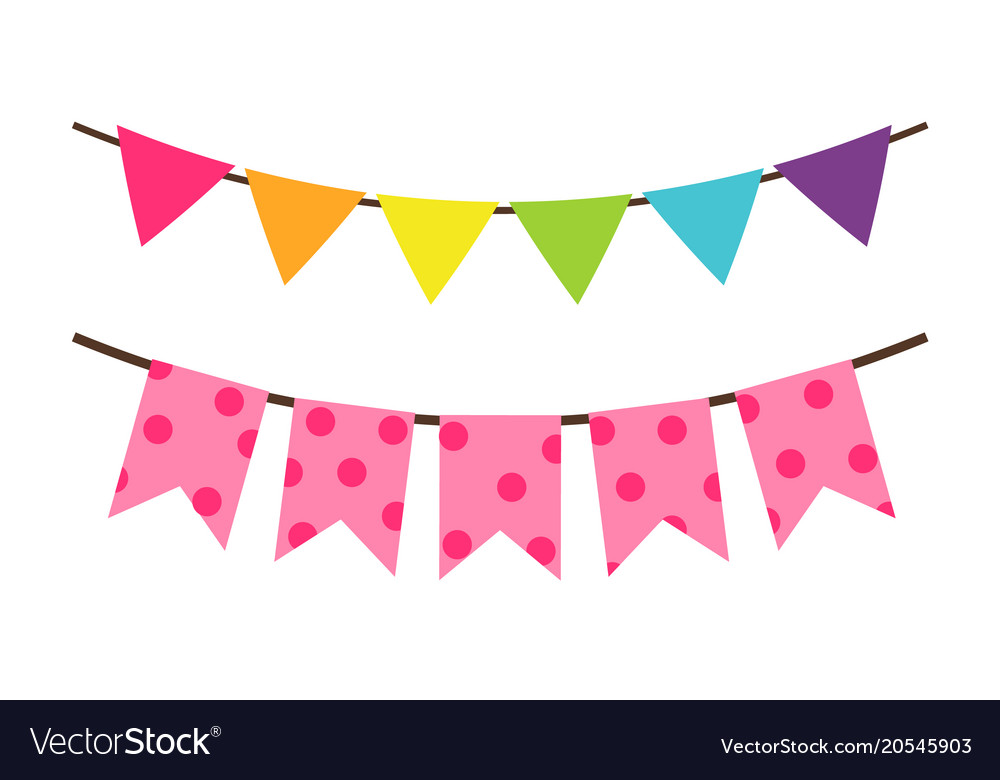 colorful birthday flag decoration for party vector image rh vectorstock com party factory netherlands party factory netherlands