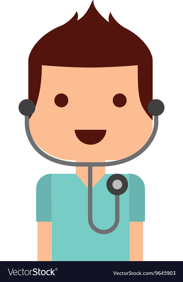 Doctor with stethoscope isolated icon design