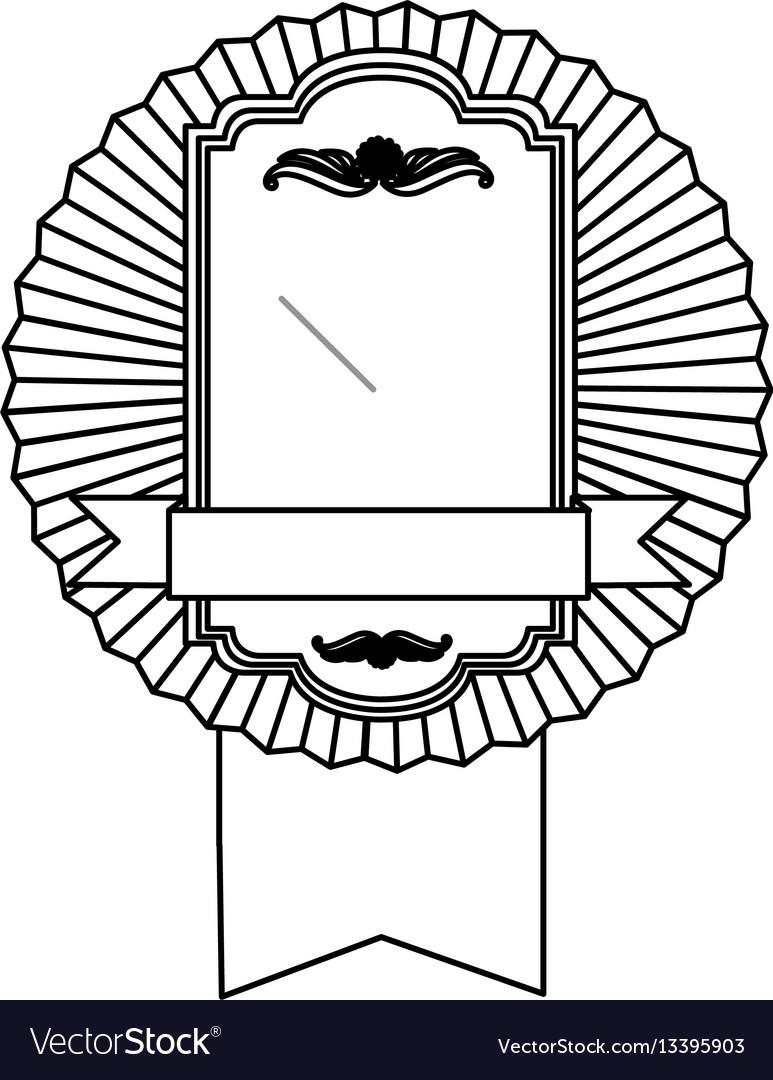 Figure emblem border form with ribbon icon