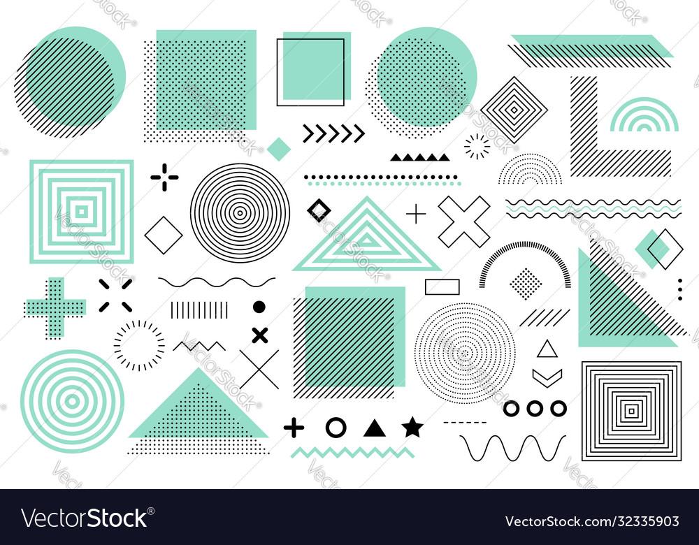 Green memphis design retro elements for web