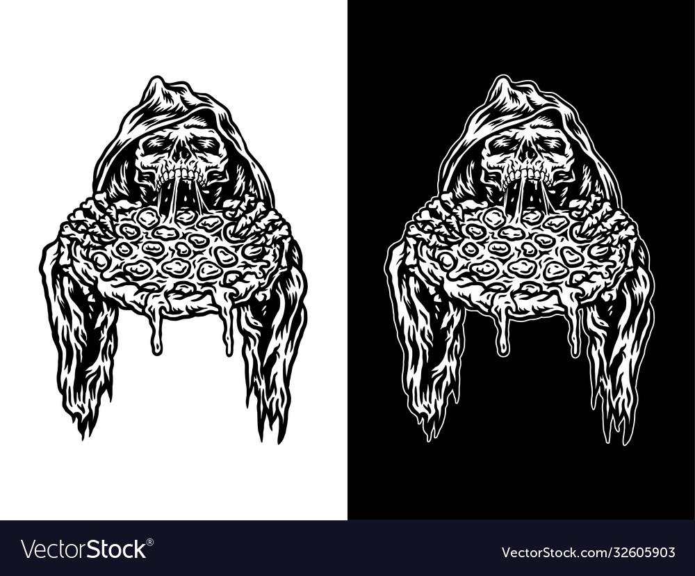 Grim reaper eating pizza