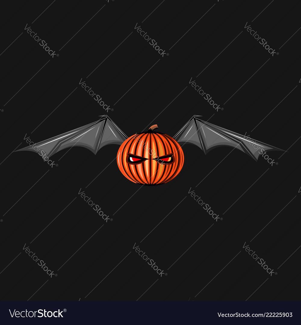 Halloween character pumpkin with bat wings monster