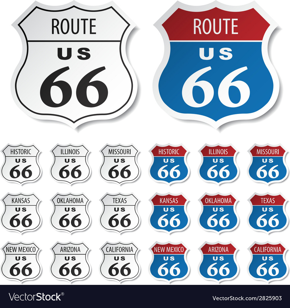 Historic route 66 stickers vector image