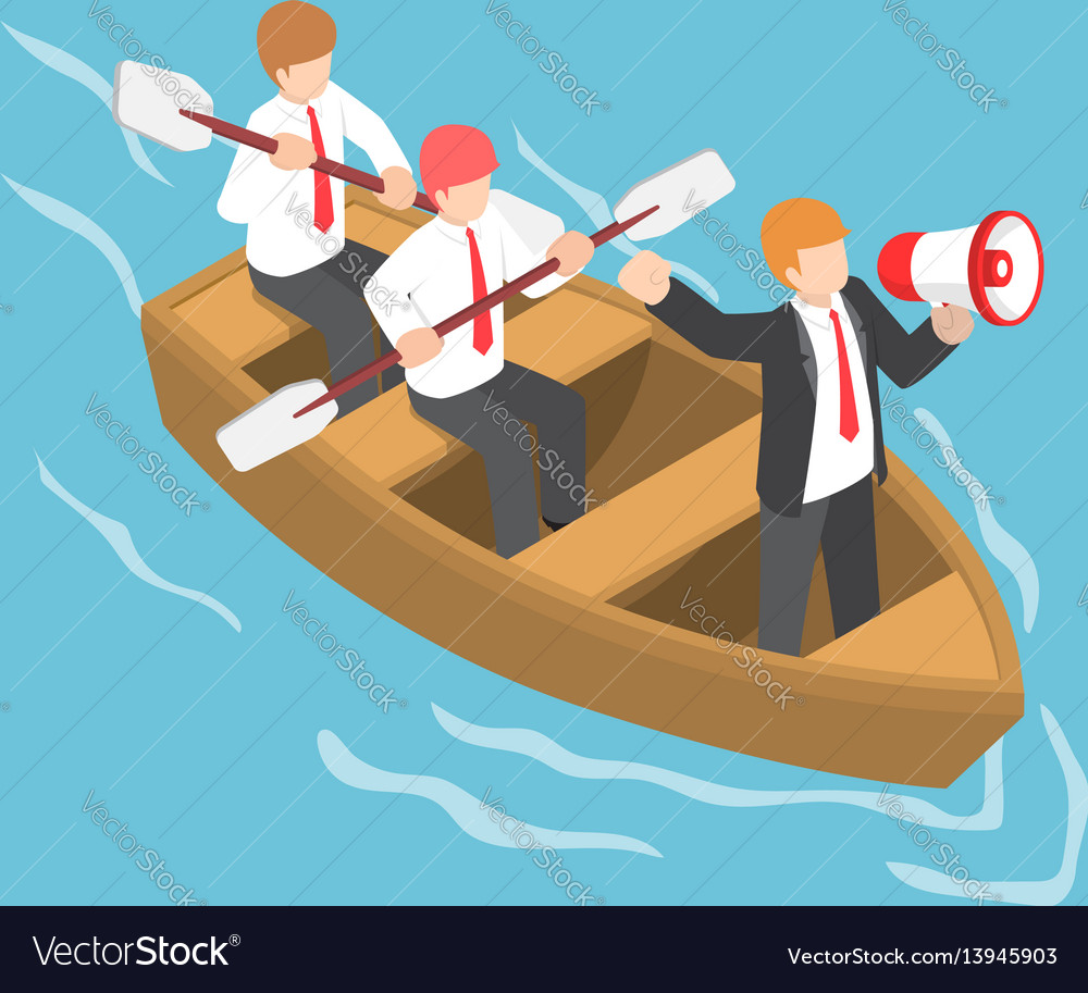 Isometric businessman in rowing team with leader