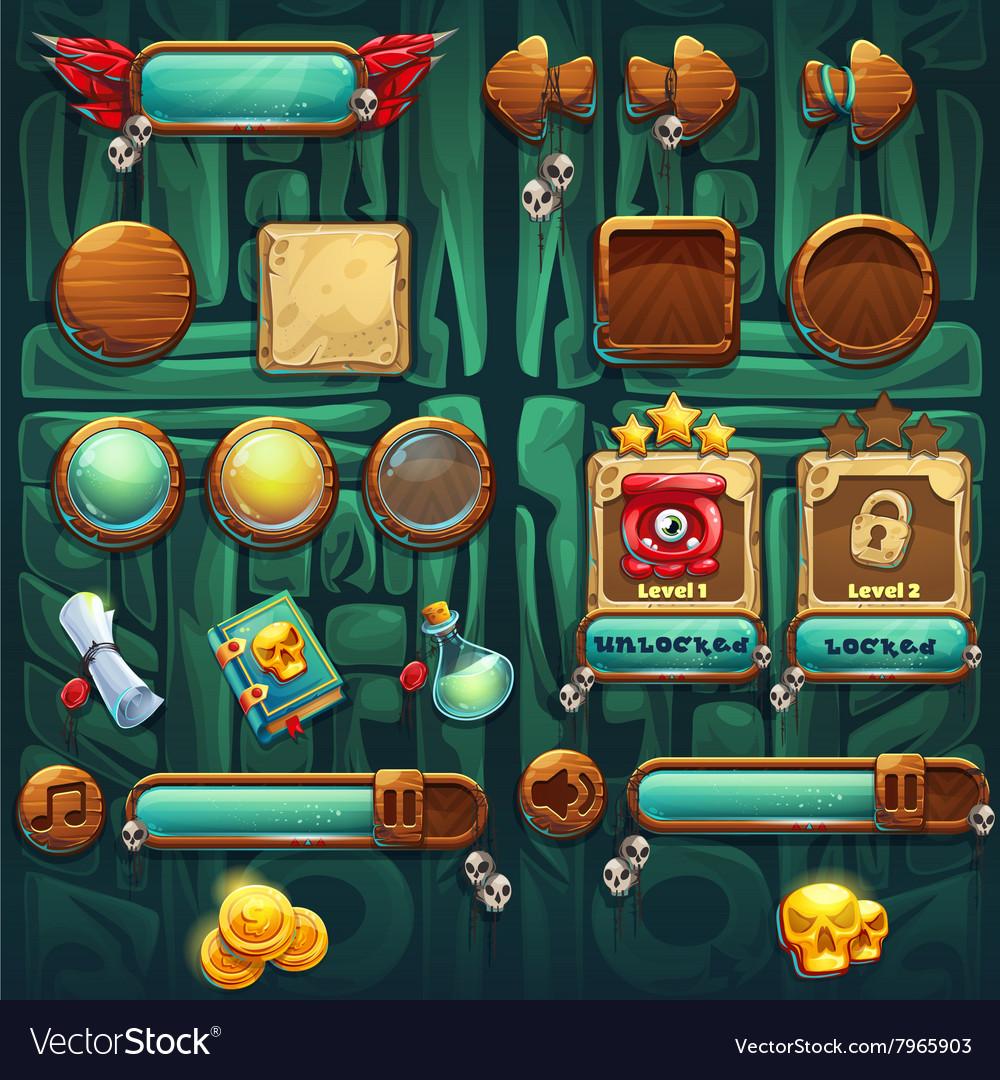 Jungle shamans GUI icons buttons set