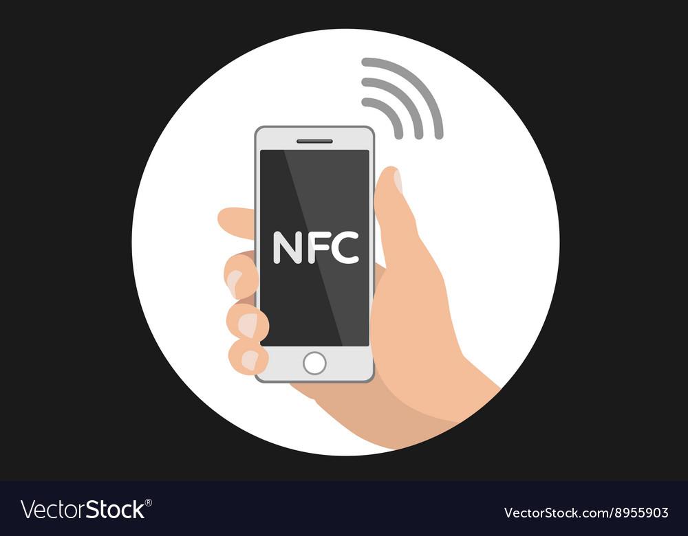 NFC smart phone concept flat icon