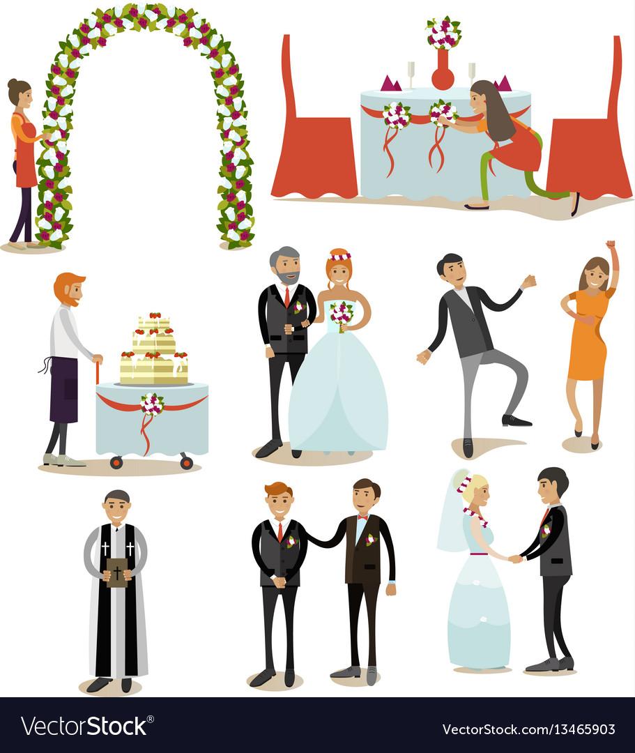 Set of wedding concept icons flat style