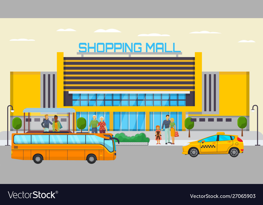 Shopping mall transport stop with different city