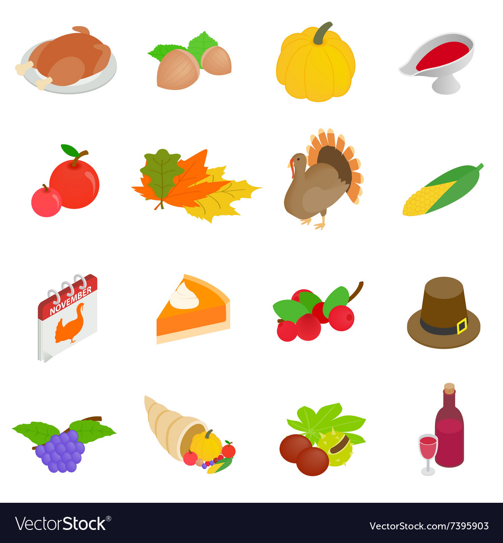 thanksgiving day isometric 3d icons royalty free vector