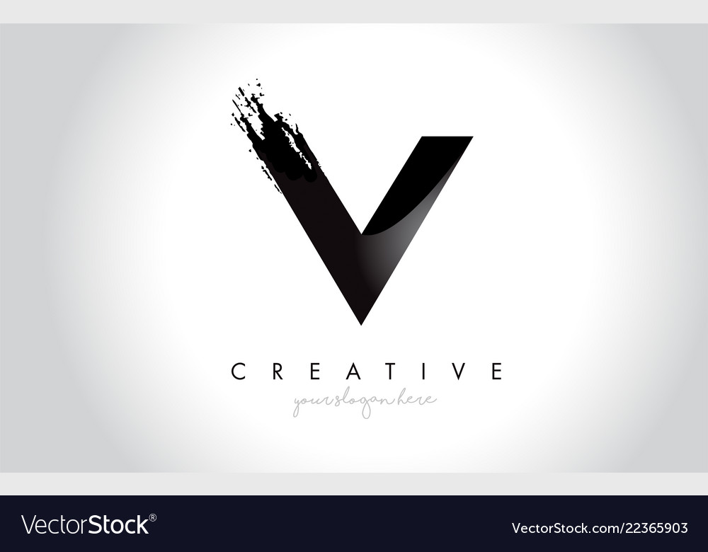 V letter design with brush stroke and modern 3d