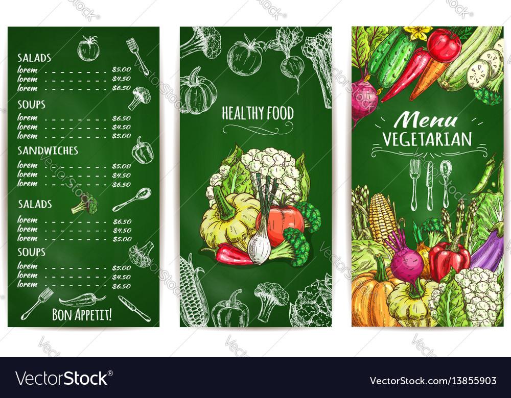 Vegetarian Restaurant Menu Template On Chalkboard Vector Image