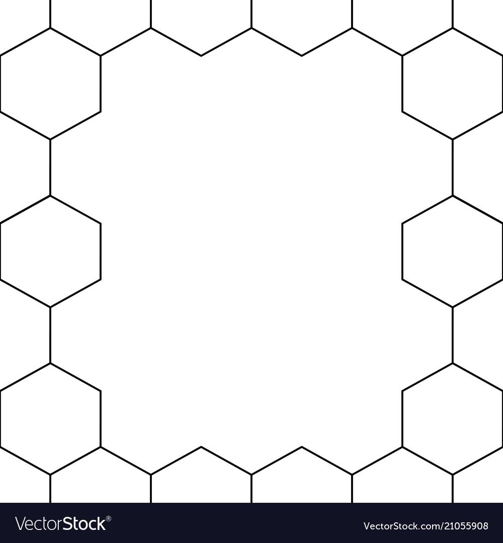 Black honeycomb hexagon border on white background
