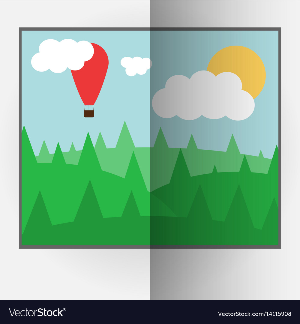 Cartoon style bent photo frame with day nature vector image