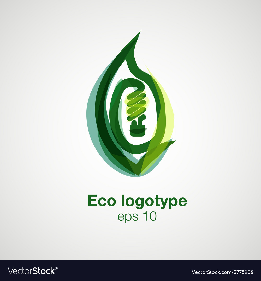 Eco logotype Bulb in leaf concept