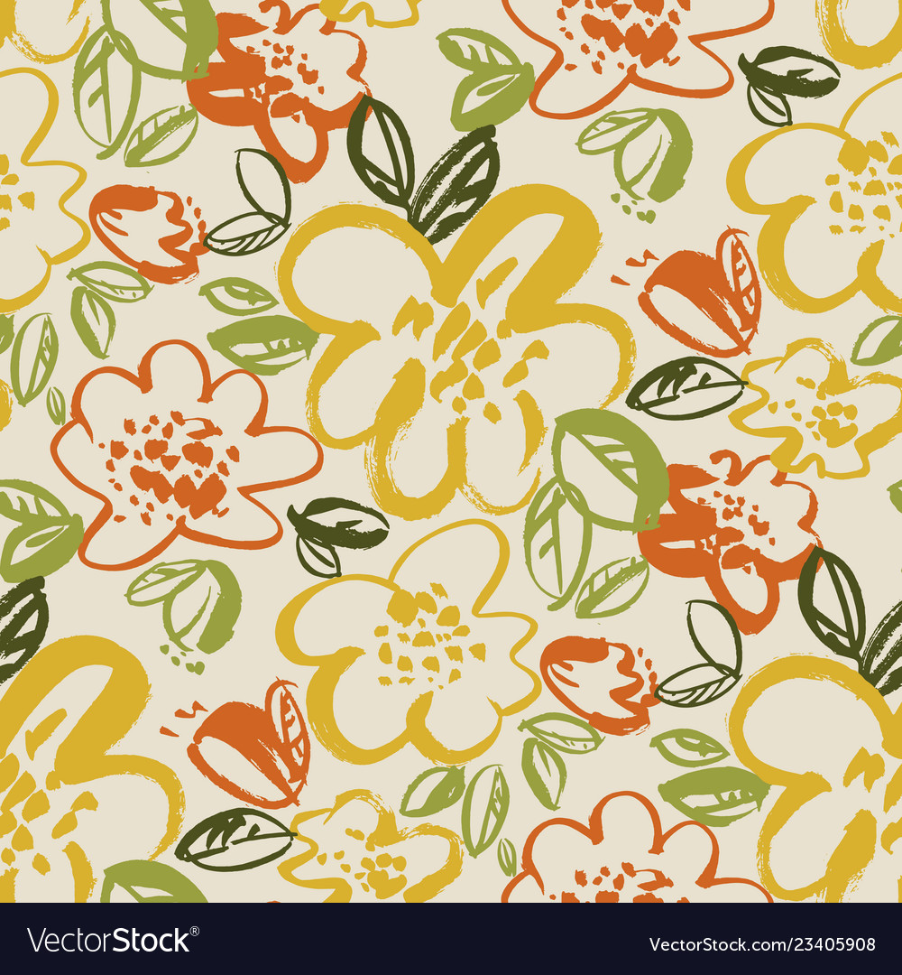 Floral color seamless pattern