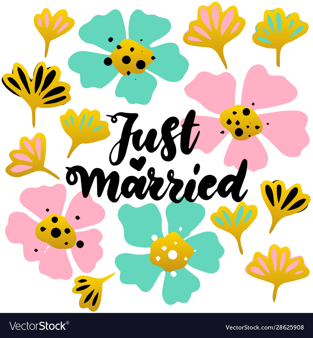 Just married lettering postcard